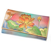 ANUSCHKA HAND-PAINTED LEATHER CHECKBOOK WALLET CLUTCH