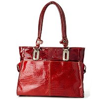 "MADI CLAIRE ""CLIFTON"" CROCO EMBOSSED PATENT LEATHER DOUBLE HANDLE TOTE"