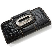 "MADI CLAIRE ""CLIFTON"" CROCO EMBOSSED PATENT LEATHER WALLET W/ RHINESTONE HARDWARE"