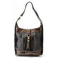 "MADI CLAIRE ""DALIA"" CROCO EMBOSSED LEATHER SHOULDER BAG W/ TORTOISE ORNAMENT AND TASSEL ACCENT"