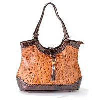 "MADI CLAIRE ""DAHLIA"" CROCO EMBOSSED LEATHER TOTE WITH TORTOISE ORNAMENT AND TASSEL ACCENT"