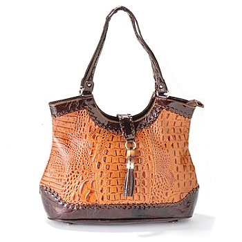 703-428 - Madi Claire ''Dahlia'' Croco Embossed Leather Tote w/ Ornament