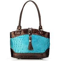 "MADI CLAIRE ""DAHLIA"" CROCO EMBOSSED LEATHER SATCHEL WITH TORTOISE ORNAMENT AND TASSEL ACCENT"