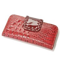 "MADI CLAIRE ""DAHLIA"" CROCO EMBOSSED LEATHER WALLET"