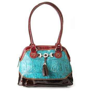 703-432 - Madi Claire ''Donna'' Jumbo Croco Embossed Leather Dome Satchel