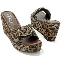 "GRAZIE FOOTWEAR ""JESTER"" CRYSTAL BUCKLE ANIMAL PRINT WEDGE SANDALS"