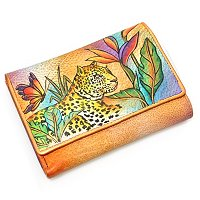 ANSUCHKA HAND-PAINTED LEATHER MEDIUM THREE FOLD WALLET