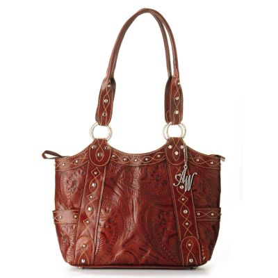 "703-693 - American West ""Over the Rainbow"" Tooled Leather Fashion Tote"