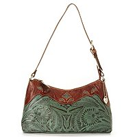 "AMERICAN WEST ""PEEK-A-BOO"" LEATHER ZIP TOP SHOULDER BAG"