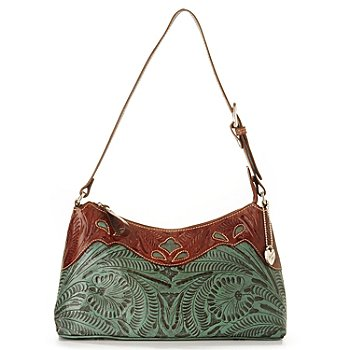 703-696 - American West Hand-Tooled Leather ''Peek-a-Boo'' Shoulder Bag