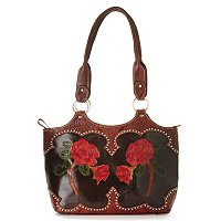 "AMERICAN WEST ""ROSES ARE RED"" TOOLED LEATHER FASHION TOTE"