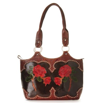 "703-697 - American West Hand-Tooled Leather ""Roses are Red"" Tote Bag"