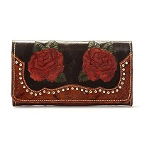 "AMERICAN WEST ""ROSES ARE RED"" TOOLED LEATHER ORGANIZER WALLET WITH STUD DETAIL"
