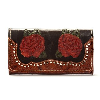 703-698 - American West ''Roses are Red'' Tooled Leather Organizer Wallet w/ Stud Detail