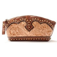 AMERICAN WEST TOOLED LEATHER COSMETIC CASE WITH EASY CARE INTERIOR LINING