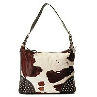 "AMERICAN WEST ""SANTA FE SPIRIT"" LEATHER LARGE TOP ZIP SLOUCH HOBO"