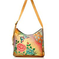 ANUSCHKA HAND-PAINTED LEATHER CROSS BODY W/UMBRELLA POCKET W/PHONE CASE