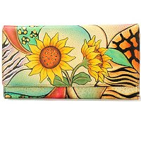 ANUSCHKA HAND-PAINTED LADIES CREDIT CARD & CHECKBOOK CLUTCH WALLET