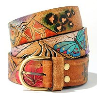 ANUSCHKA HAND-PAINTED LEATHER LADIES BELT