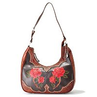 "AMERICAN WEST ""ROSES ARE RED"" SCOOP TOP HOBO"