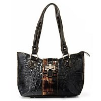 "Madi Claire ""Riley"" Croco Embossed Leather Toggle Lock Shoulder Bag"