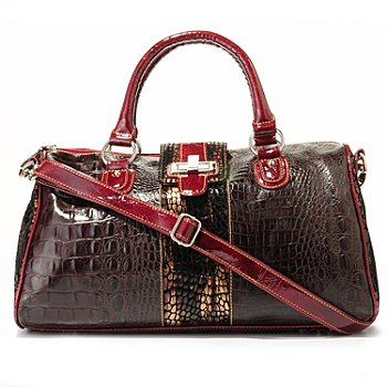 703-981 - Madi Claire ''Riley'' Croco Embossed Leather Turn Lock Top Handle Satchel