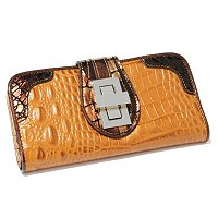 "Madi Claire ""Riley"" Croco Embossed Toggle Lock Wallet"