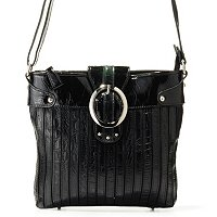 "Madi Claire ""Chloe"" Croco Embossed Leather Stripes Messenger Bag"