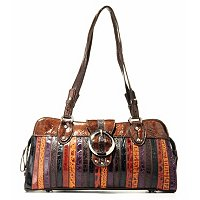 "Madi Claire ""Chloe"" Croco Embossed Leather Stripes Satchel"