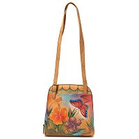 ANUSCHKA HAND-PAINTED LEATHER ZIP AROUND SATCHEL
