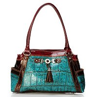 "Madi Claire ""Zoey"" Croco Embossed Leather Tote Bag"