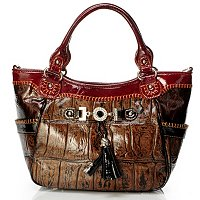"Madi Claire ""Zoey"" Croco Embossed Leather Top Handle Satchel"