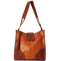 "Madi Claire ""Savannah"" Wildflower Tool Embossed Leather Tote Bag"