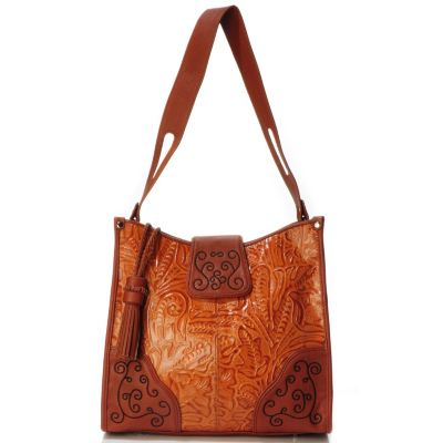 "704-022 - Madi Claire Tool Embossed Leather ""Savannah"" Wildflower Tote Bag"