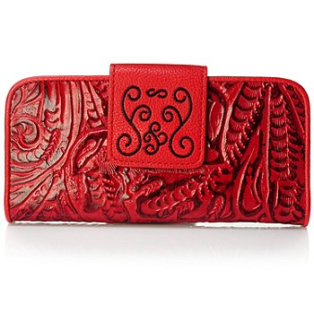 704-023 - Madi Claire ''Savannah'' Wildflower Tool Embossed Leather Wallet