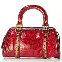 "Madi Claire ""Kaylee"" Croco Embossed Leather Top Handle Bag"