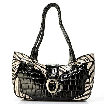 704-065 - Madi Claire ''Sebra'' Zebra Print Croco Embossed Leather Satchel
