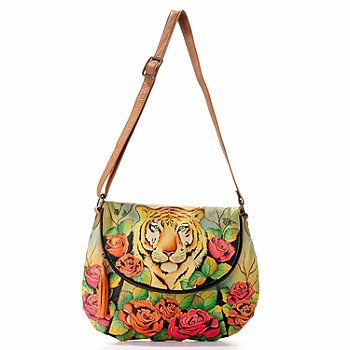 704-073 - Anuschka Hand Painted Leather Front Flap Convertible Bag