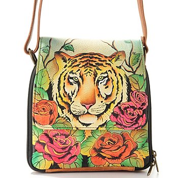 704-074 - Anuschka Hand Painted Leather Triple Compartment Cross Body Bag