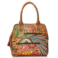 Anuschka Multi-Pocket Hand Painted Leather Top Zip Satchel