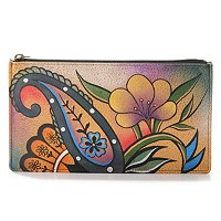 Anuschka Hand Painted Leather Top Zip Organizer Wallet