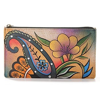 704-076 - Anuschka Top Zip Hand Painted Leather Organizer Wallet