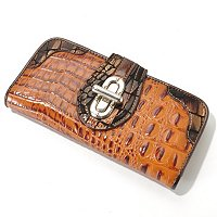 Madi Claire Croco Embossed Leather Wallet with Metallic Trim