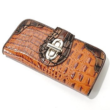 704-155 - Madi Claire ''Elyse'' Metallic Trim Croco Embossed Leather Wallet