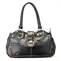 Madi Claire Elyse Croco Embossed Satchel with Metallic Trim