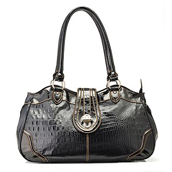 704-159 - Madi Claire ''Elyse'' Croco Embossed Leather Satchel