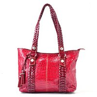 Madi Claire Yani Croco Embossed Leather Tote with Whip Stitch