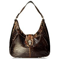 Madi Claire Elyse Croco Embossed Leather Hobo with Metallic Trim