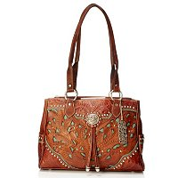 American West Multi Compartment Hand Tooled Leather Organizer Tote Bag