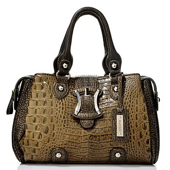 704-196 - Madi Claire ''Sydney'' Croco Embossed Convertible Leather Satchel